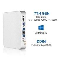 Мини ПК i7 7500U i5 7200U i3 7100U 8 GB DDR4 240G SSD Windows 10 и 8,1 4 K UHD HDMI двухдисплейный видеоадаптер 6 * USB 300 M WiFi HTPC
