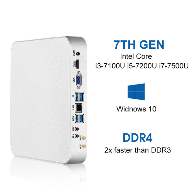 Mini pc i7-7500U i5-7200U i3-7100U 8 GB DDR4 240G SSD Windows 10 & 8.1 4 K UHD HDMI VGA Double affichage 6 * USB 300 M WiFi HTPC