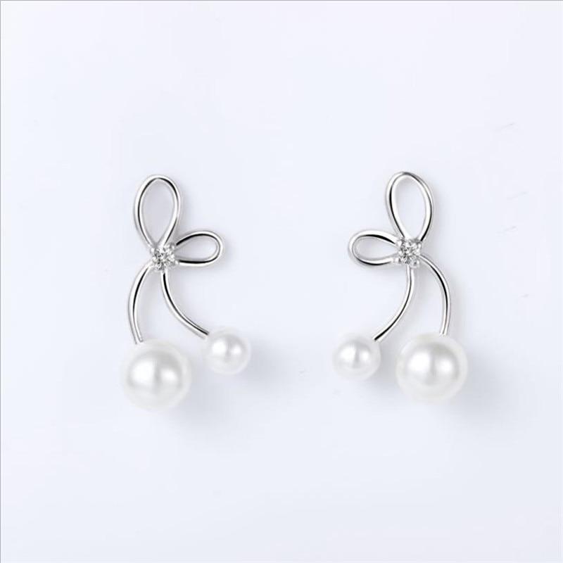Everoyal Fashion Women Silver 925 Sterling Earrings Jewelry Female Vintage Pearl Butterfly Stud Earring Girls Accessories