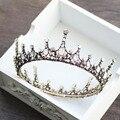 2017 European Design Vintage Round Tiara Baroque Bronze Rhinestone Queen King Tiaras Crowns Wedding Headband for Bride Headpiece