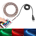 USB Cable LED Strip Light RGB Waterproof ip65/non 5050 SMD 5v Colour Changing TV PC PS4 Background lights+ Remote Controller
