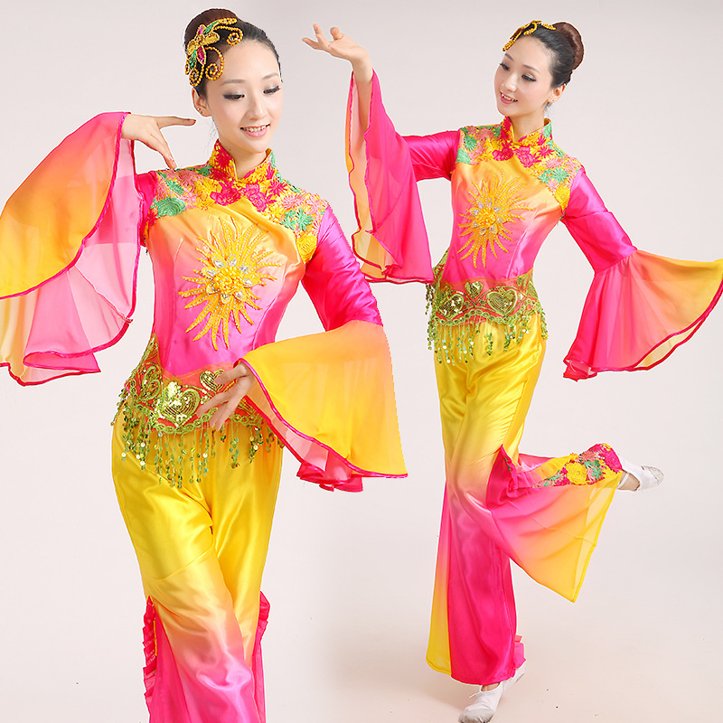 New  Costume Chinese Ancient Traditional Plus Size Dress Chinese Yangko Dance Costume Folk Dance Costume Fan Dance Costumes