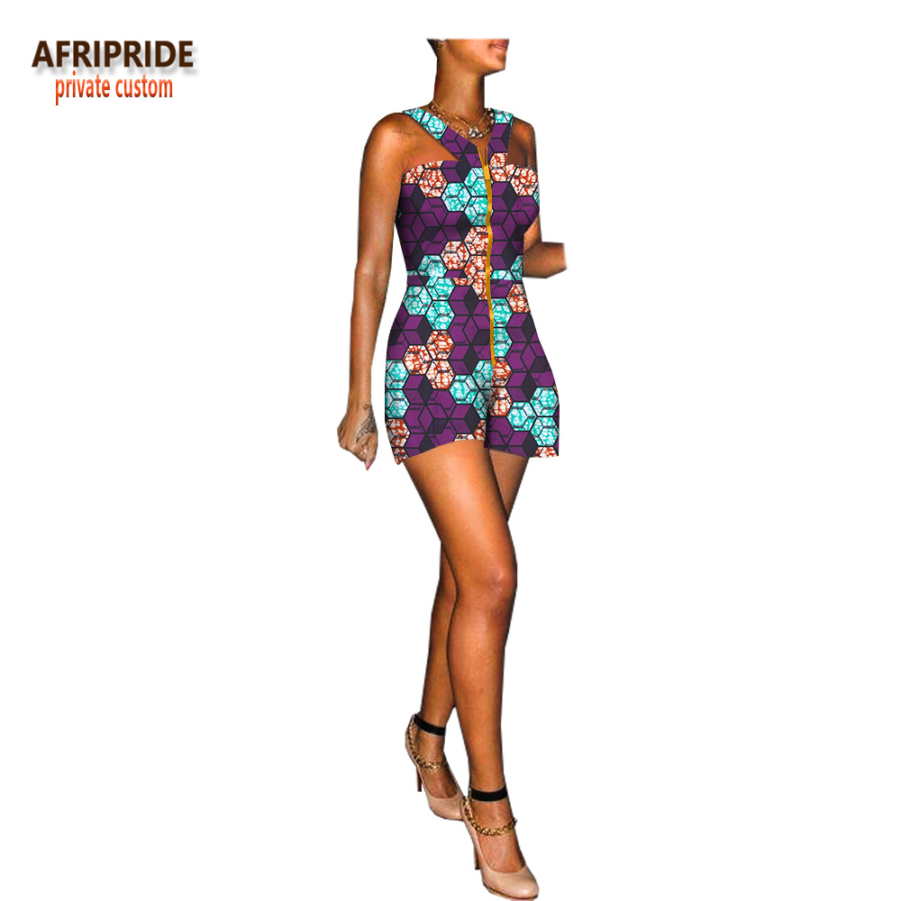 2018 summer african jumpsuit for women AFRIPRIDE sleeveless mini length women cotton jumpsuit with front metal