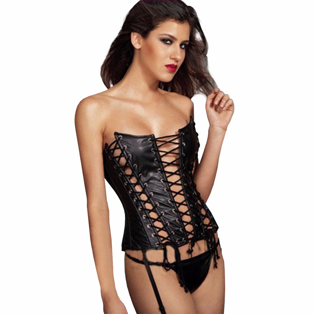 Corsetto Sexy Più Bustier G-String Perizoma Set Per Le Donne Faux Leather Hollow Steampunk Gothic Corsetto Nero Shaper Del Corpo Della Vita Trainer