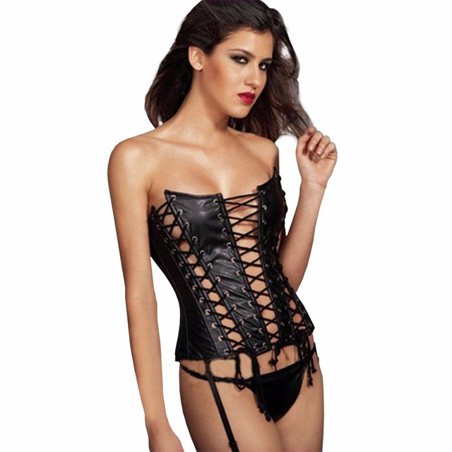 Sexy Bustier Corset G-String Thong Set For Women Faux Leather Hollow Steampunk Gothic Black Corset Body Shaper Waist Trainer