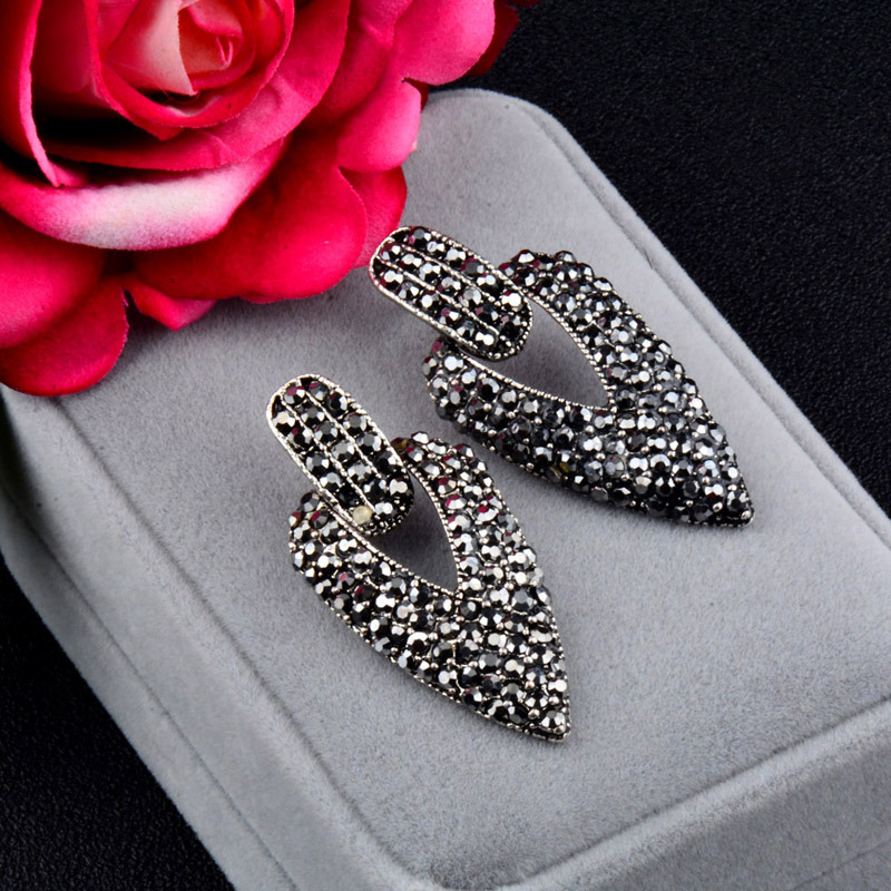 SINLEERY Vintage Big Full Black Cubic Zirconia Hollow Triangle Drop Earrings Antique Silver Color Female Jewelry ES119 SSH