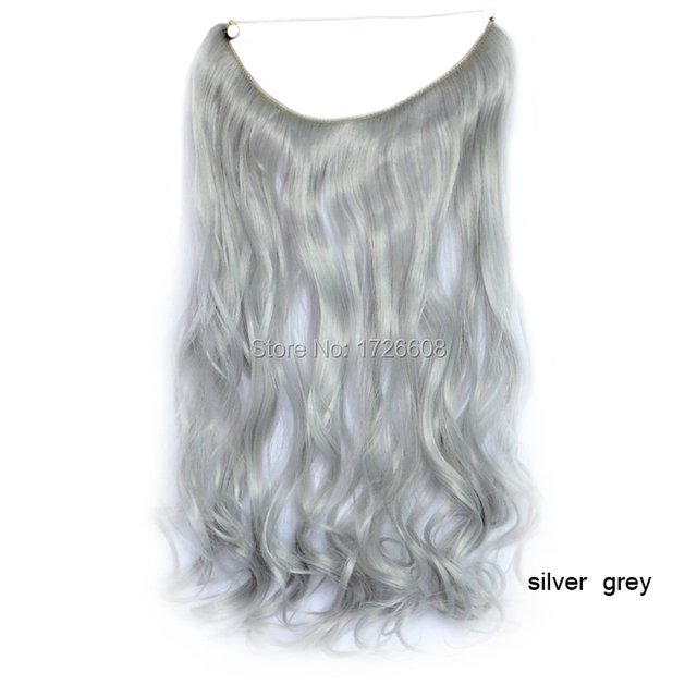 18 Inch Grey Silver Hair No Glue No Clip Hair Extension Brazilian