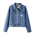 Autumn Slim Blue Denim Jackets Single breasted Long Sleeve Lapel Pockets Short Women outerwear jaqueta jeans DWDD8601