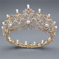 Baroque Vintage Bridal Crown for Women Headband Rhinestone Pearls Flower Headdress Wedding Hair Circle Tiaras and Crowns