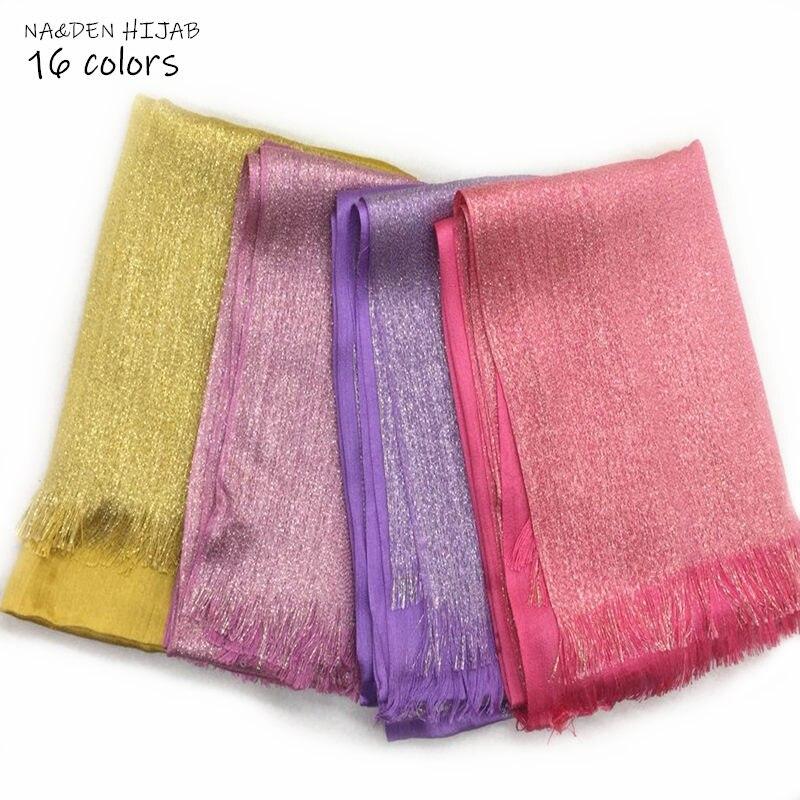 Fashion Muslim Women Scarves Plain Shimmer Shiny Hijab Scarf Muslim Hijab Scarf Solid Shawls And Women Scarves Shawl 10pcs/lot