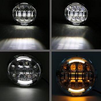 FADUIES Krom 7 Inç Yuvarlak Far LED 80 W Amber Sinyal Halo Açı Gözler H4 To H13 Adaptörü Harley Motosiklet