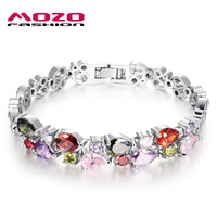 Wholesale Fashion Women S Jewelry Platinum Plated Charm Bracelets Multicolor Zircon Bangles Crystal Hand Chain Party