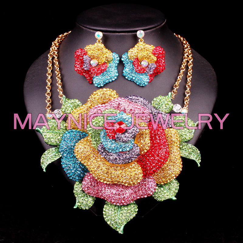 Fashion Bridal Jewelry Sets Wedding Necklace Earring set For Brides Party Accessories Big Flowers Costume Decoration