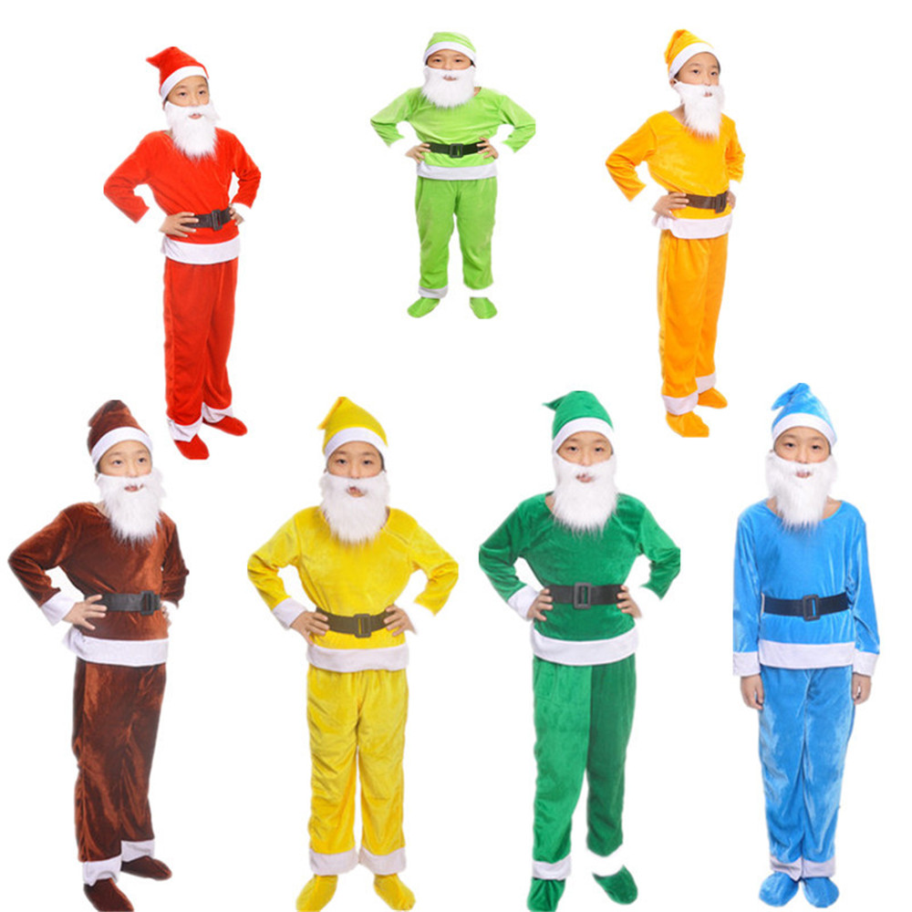 Cosplay children's Santa Claus costume Christmas Elf uniform seven colors Snow White and the Seven Dwarfs uniform kids costumes