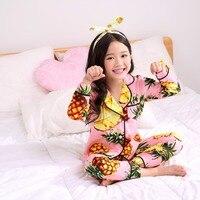 Summer Baby Girls Pajamas Sets Fashion Pineapple Printing Children Sleepwear 2 8T Toddler Kids Long Sleeve