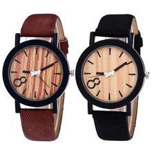 купить Fashion Casual Women Men Wooden Grain Round Dial Faux Leather Band Quartz Modern Wristwatch Wrist Watch Couple Gift недорого
