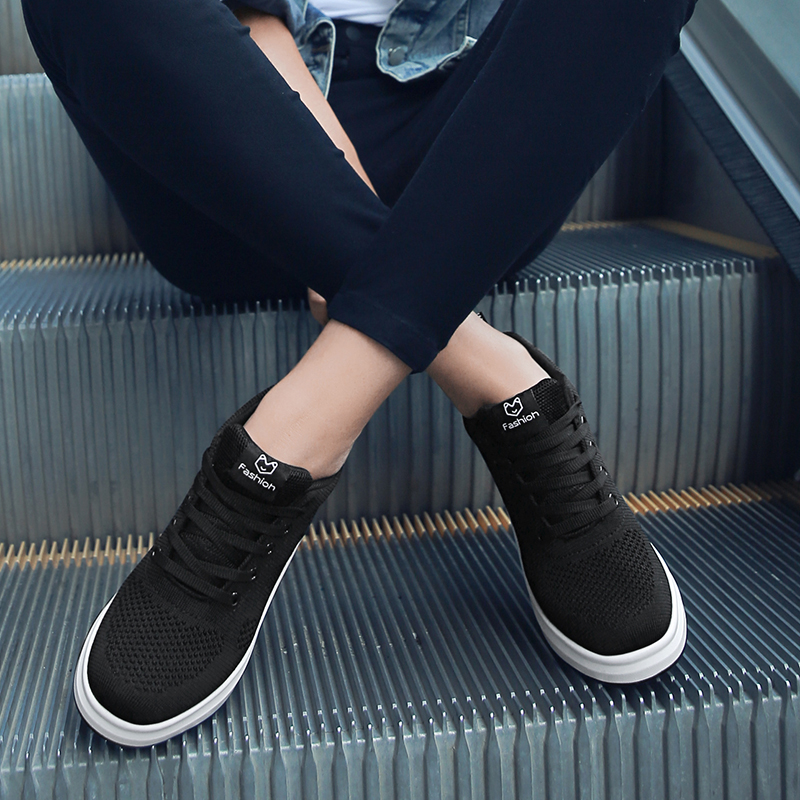 Hide Heel Women Fashion Sneakers Flying Knitting Wedge Casual Shoes Woman Air Mesh Breathable Autumn High Top Ladies Shoes SH3 (33)