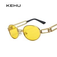BOUTIQUE Round Metal Oval Sunglasses Steampunk Men Women Fashion Glasses Brand Designer Retro Vintage Sunglasses K9002