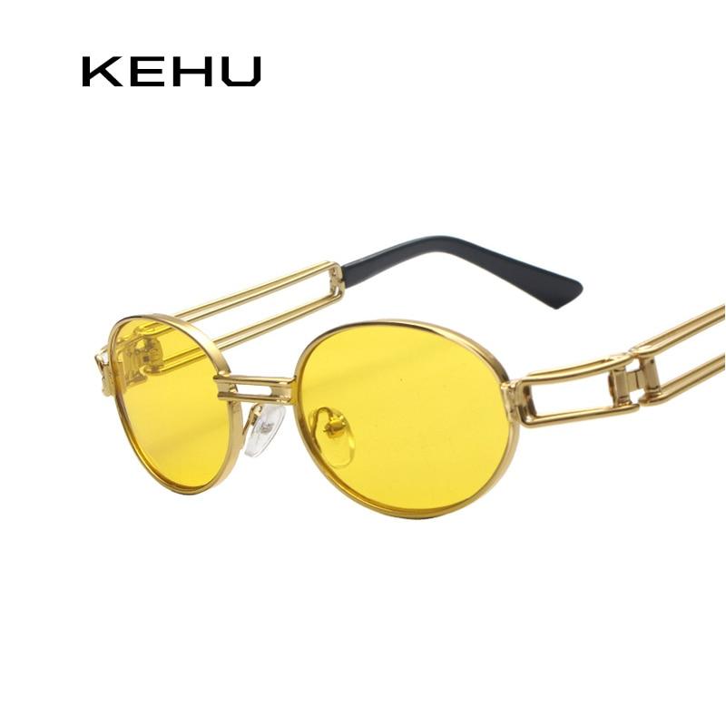 Kehu redondo Gafas metal Marcos oval Gafas de sol mujeres Steampunk hombres moda Gafas marca diseñador Retro Vintage Gafas de sol k9002