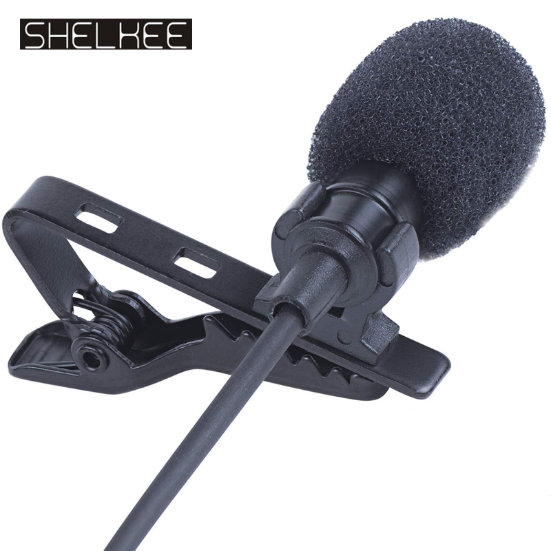 SHELKEE Omnidirectional Mini Audio Mic Microphone 3.5mm Jack Lavalier Tie Clip Mic For Speech Leture Interview K Song