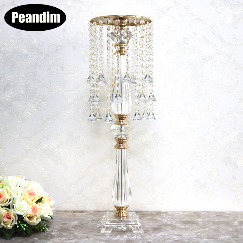 Home Decor Candle Holders Peandim Acrylic Wedding Flower Rack 78cm Tall 24cm Diameter Silver Candelabra Table Centerpiece Wedding Flowers Road Leads