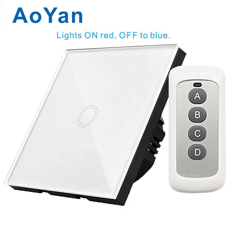 EU/UK Standard AoYan Remote Switch, Crystal Glass Panel, RF433 Remote Control 1Gang 2 Gang 3 Gang 1way Smart home 1gang 1way touch switch with remote function 433 92mhz silver aluminum and black glass panel remote switch eu uk hot sale