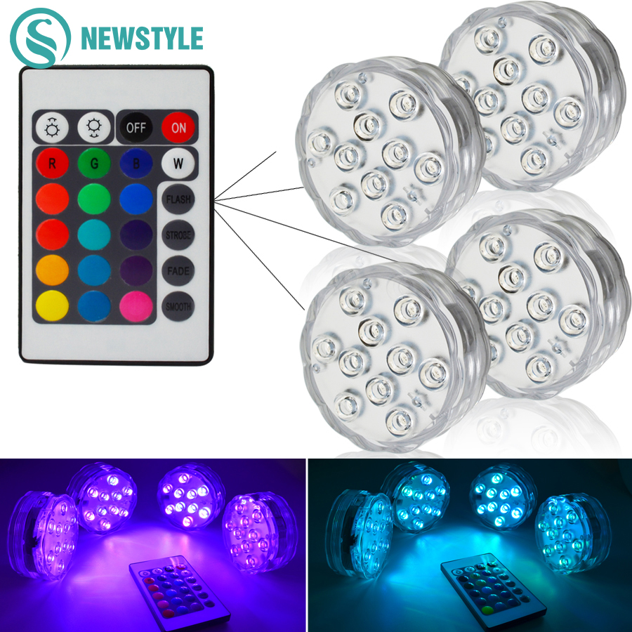 RGB Submersible LED Underwater Light 10leds Battery Operated IP67 Waterproof Lamp Swimming Pool Light For Wedding Celebration