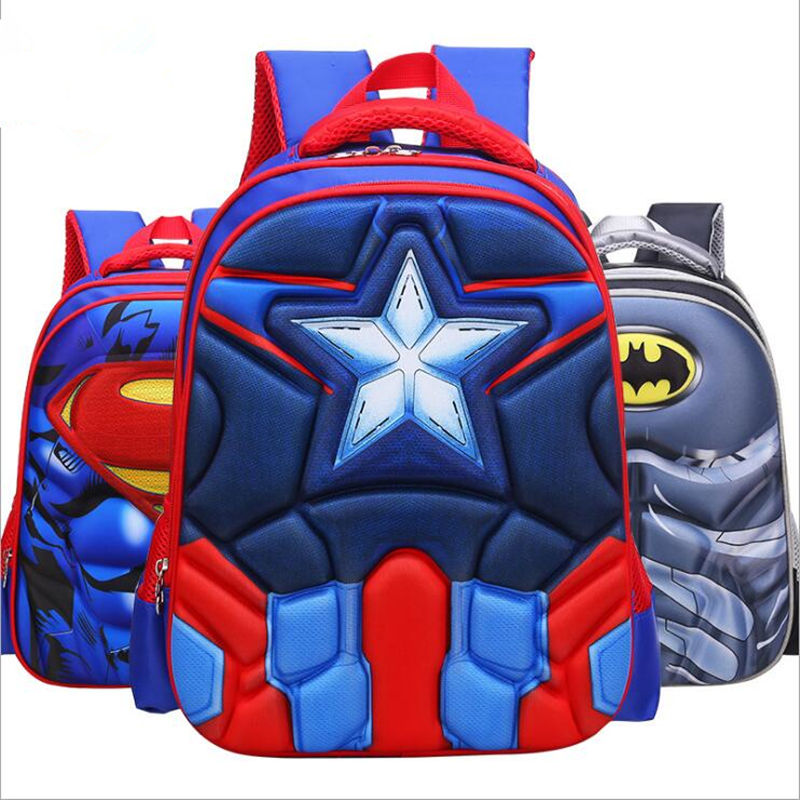 Superman Batman Captain America Boy Girl Children Kindergarten School Bag Teenager Schoolbags Kids Student Backpacks
