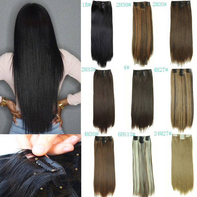 Hairpiece Straight 11 Clips In False Hair Styling Synthetic Clip In