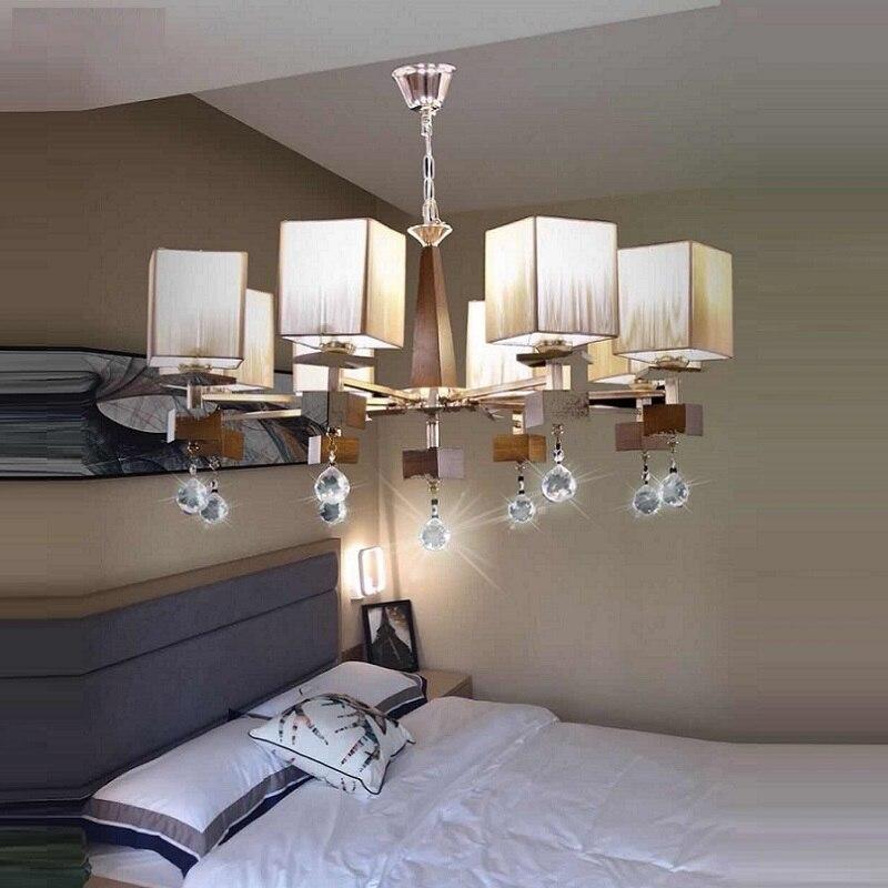 Modern Chandelier Lighting lustres de cristal wooden lights Decoration Luxury Candle Chandelier Pendants Living Room Indoor
