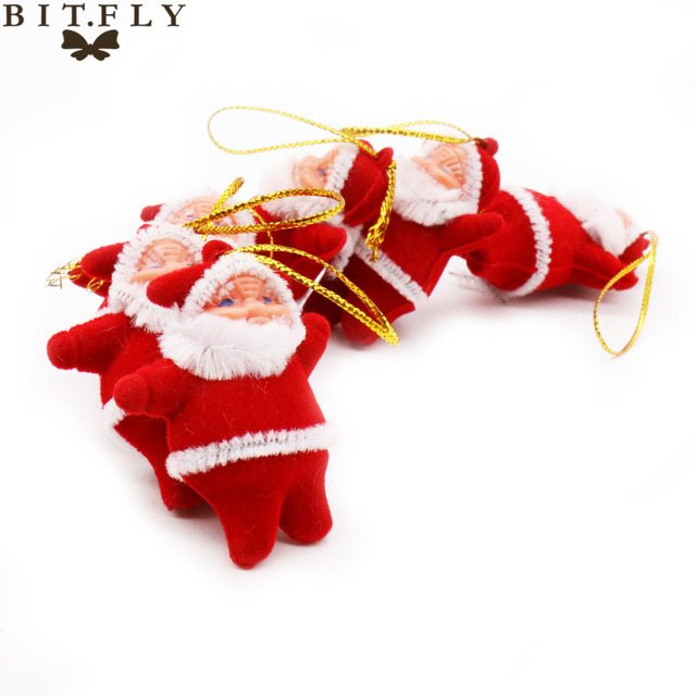 6PCS Small Christmas Hanging Ornaments Santa Claus Pendants Tree Decoration Accessories Kids Gifts Supplies
