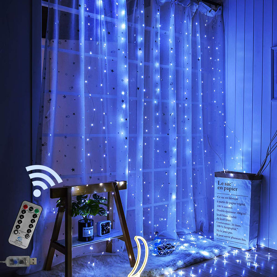 Remote Control 3x2m 200 LED Window Curtain Lights Copper Wire Christmas Fairy String Light Wedding Party Decorations USB Powered