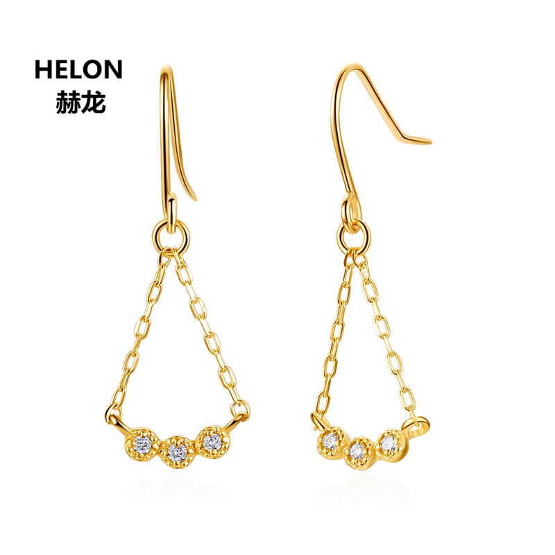 Solid 18k Yellow Gold SI/H Natural Diamonds Women Drop Earrings Engagement Wedding Fine Hook Earrings solid 18k yellow gold 0 07ct si h full cut natural diamonds drop earrings for women engagement wedding fine jewelry chain