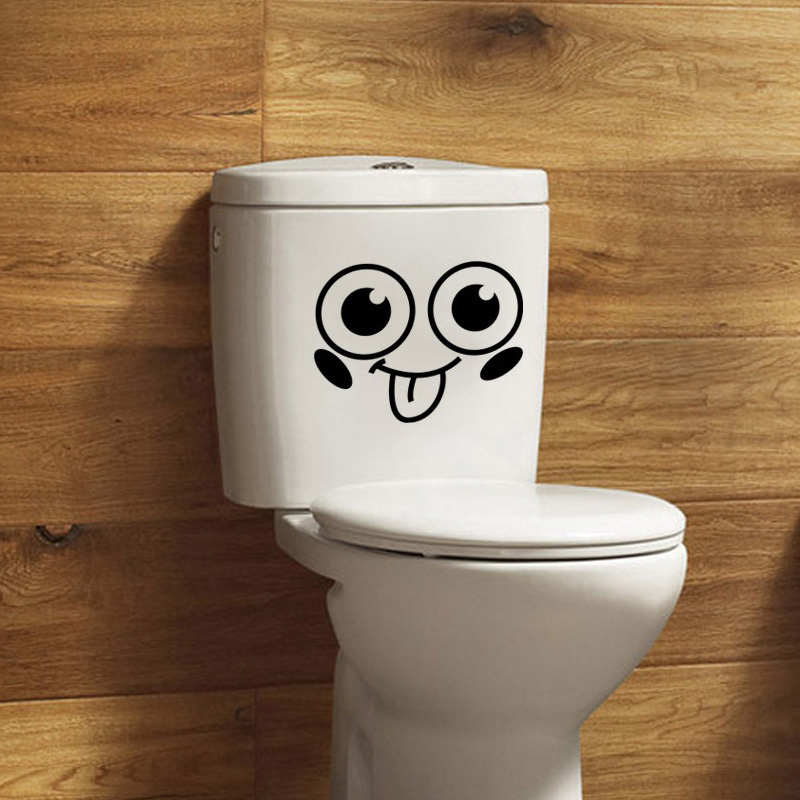 Cute Smiling Face creative toilet sticker bathroom wallpaper funny toilet  stickers WC Cartoon Home Decor Wall Stricker in Wall Stickers from Home    Garden. Cute Smiling Face creative toilet sticker bathroom wallpaper funny