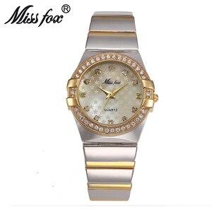 Image 5 - MISSFOX Gold Watch Fashion Brand Rhinestone Relogio Feminino Dourado Timepiece Women Xfcs Grils Superstar Original Role Watches
