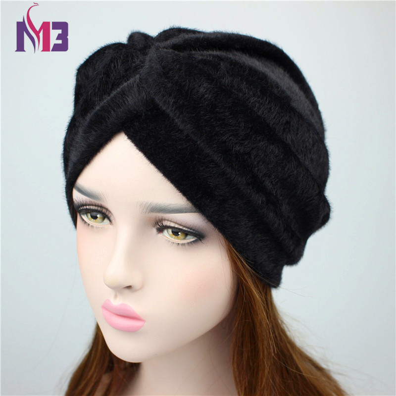 f74070b5162 2018 Spring New Luxury Women Fur Turban Women s Muslim Turban Ladies Hair  Accessories Turban Headband Headwear