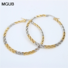MGUB Flat color braids Earrings Stainless steel jewelry Women's earrings Fashion personality Marriage Jewelry Gifts LH251