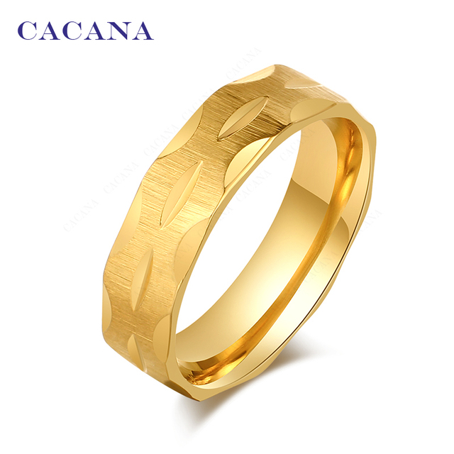 CACANA Titanium Stainless Steel Rings For Women Mini Incision Fashion Jewelry Wh