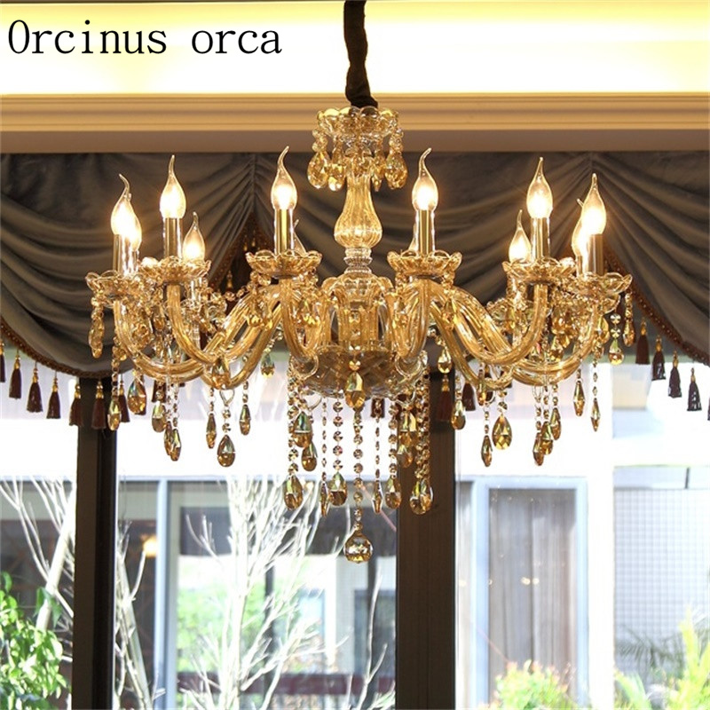 European Crystal Chandelier Living Room Lamp Simple Modern Atmosphere Restaurant Creative Personality Candle Light