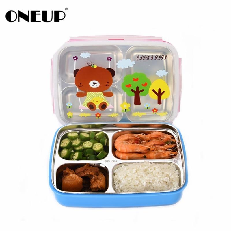 ONEUP bento font b Lunch b font box 304Stainless steel cute cartoon Kids Portable Picnic School