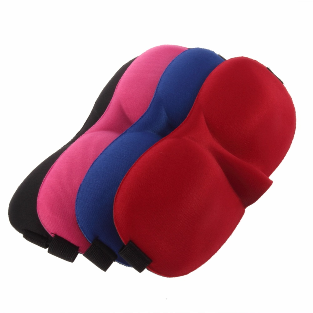 Sleeping Aid Fashionable Sleeping Eye Mask Blindfold Cover Light Guide Sponge Eyeshade Eye Mask Black/Red/Blue drop shipping image