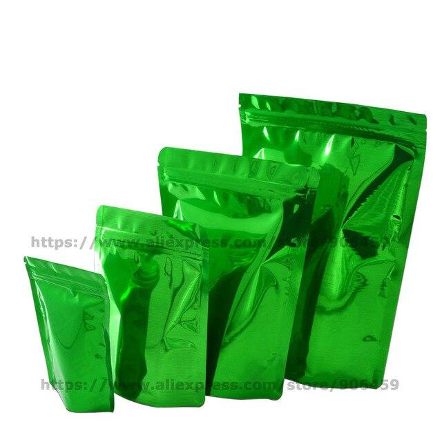 100 pcs Verde Stand Up Folha De Alumínio Saco Zip Lock Auto Vedação Reciclar Café Lanche Biscoitos Doces Embalagem Pouch