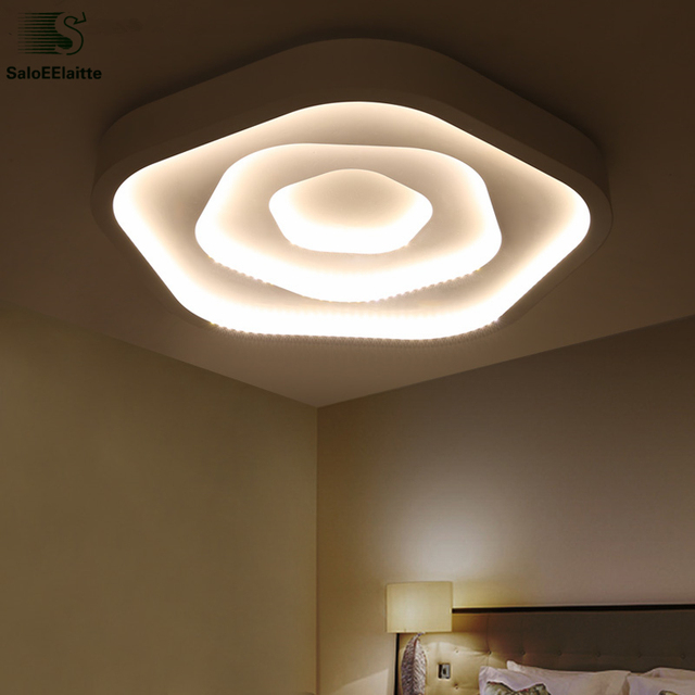 Modern Painted Metal Remote Control Led Dimmable Ceiling Lamp Living ...