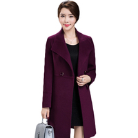 Women's Loose Plus Size Clothing 2018 Autumn Winter Fashion Turn Down Collar Double breasted Slim Wool Trench Coat Jacket XH598