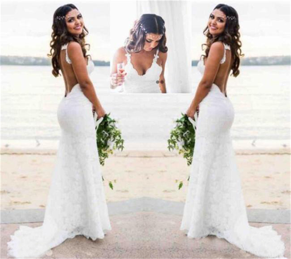 Sexy Lace Beach Wedding Dresses Country Style Deep V Neck Boho Bridal Gowns Simple Wear