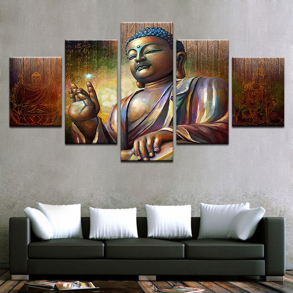 Meditation Home Decor: Canvas Pictures Wall Art Home Decor 5 Pieces Buddha