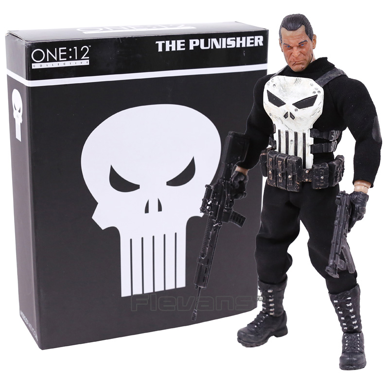 MEZCO The Punisher 1/12 Scale PVC Action Figure Collectible Model Toy (real clothes) 16cm the punisher 1 12 scale pvc action figure collectible model toy anime punisher superhero toys doll gifts figurine