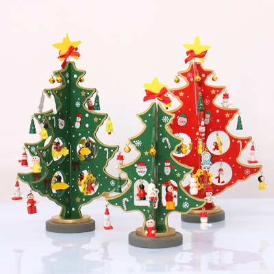 diy desktop small wooden mini christmas tree christmas decoration fine workmanship bright color new year on aliexpresscom alibaba group