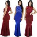 Vitiana partido de las mujeres elegantes diamantes pretty dress primavera verano azul negro rojo sin mangas bodycon delgado largo maxi dress