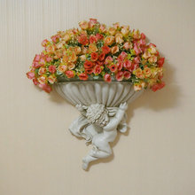 European Garden retro Angel vase mural floral background wall decoration floral resin housewarming gifts